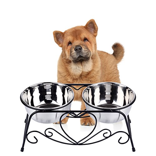 CICO Pet Feeder Dog Cat, Stainless Steel Food Water Bowls Iron Stand by CICO