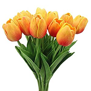 20PCS/Set PU Tulip Flower Real Touch Artificial Silk Flowers Arrangement Bouquet Home Room Office Wedding Party Decor 50