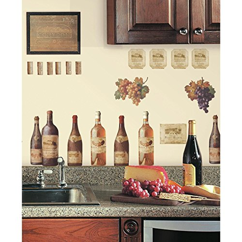 Chardonnay Pinot (WINE TASTING wall stickers 56 decals Bottle Cork Merlot Chardonnay Pinot Grapes)