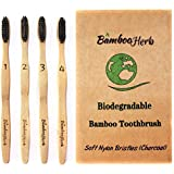Natural Bamboo Charcoal Infused Toothbrush with Extra Soft BPA Free Nylon Bristles, Individually Numbered - Eco-Friendly Natural Teeth Whitening - Sustainable & 100% Biodegradable Pack of 4 For Adults