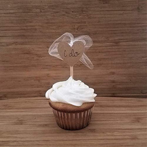 Rustic Bridal Shower Cupcake Toppers, I Do Cupcake Toppers, Hearts Wedding Shower Cupcake Picks Veil Cupcake Toppers Bridal Shower Set of 12