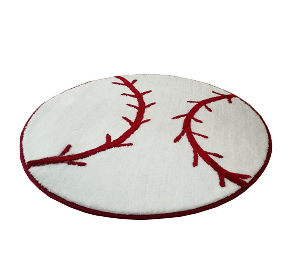KUKISHOP Kids Baseball Round Rug Carpet Floor Mat Area Carpets For Living Room/Bedroom/Hotel Tea Table Boys Babys 31.4'' x 31.4''