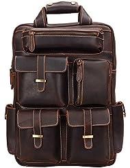ALTOSY Genuine Leather Backpack Men Vintage Travel Casual School Bag