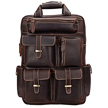 Image of Luggage ALTOSY Crazy Horse Leather Backpack Men Vintage Travel Tote Bag YD8027 (Coffee)