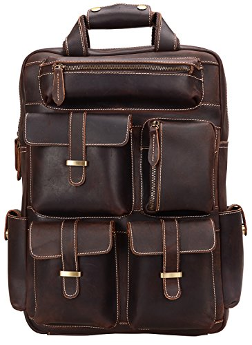 ALTOSY Genuine Leather Backpack Men Vintage Travel Casual School Bag YD8027 (Coffee) by Altosy