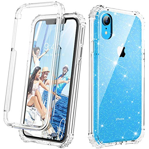 (Cozosun iPhone XR Case, [Glitter Bling Crystal Quartz Design with Built in Screen Protector] Clear iPhone XR Case Anti-Scratch Full-Body Protective Transparency Phone Cover Case for iPhone XR)