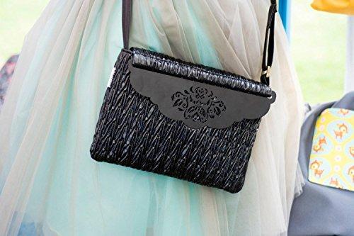 Black Vegan Handmade Designer Handbag, Vegan Leather Convertible Clutch / Crossbody, Adjustable Strap and a Beautiful Flowers Cut Out Magnetic Closure