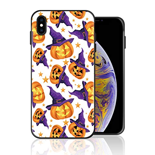 Silicone Case for iPhone 6s Plus and iPhone 6 Plus, Halloween Pumpkin Witch Design Printed Phone Case Full Body Protection Shockproof Anti-Scratch Drop Protection Cover]()