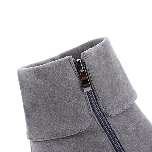 AgooLar Round Boots High Heels Toe Low Solid Zipper Closed Top Gray Women's rwUXqxfr