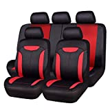 NEW ARRIVAL- CAR PASS Montclair 11PCS Universal Fit Seat Covers With opening Holes for vehicels,car ,Suv (Black and Red color)