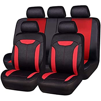 amazon com autoyouth car seat covers universal fit full set carcar pass montclair 11pcs universal fit leather seat covers,fit for suvs,trucks,sedans,cars,vehicles,vans,airbag compatible (red)