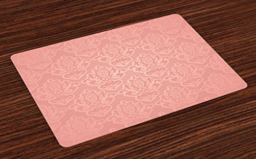 Ambesonne Peach Place Mats Set of 4, Lace Style Background with Antique Wedding Inspiration Motifs Ornamental Vintage Design, Washable Fabric Placemats for Dining Room Kitchen Table Decor, Coral