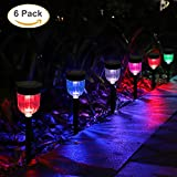 GELOO LED Solar Light Outdoor, 6 Packs Waterproof Solar Garden Light with 7 Color Changing, Auto On/Off Outdoor Solar Landscape Lights/Pathway Lights for Lawn, Yard, and Driveway