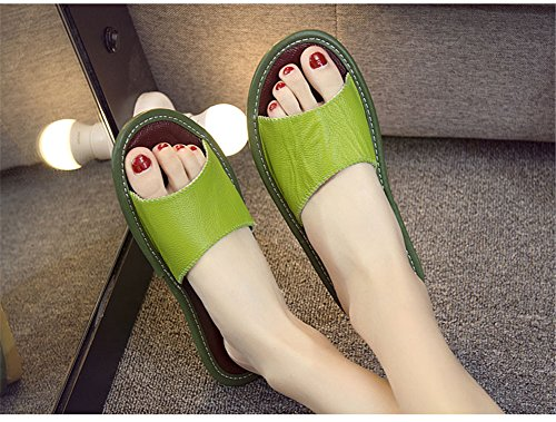 Leather Spring Women Anti Vert Corium Slippers W Smelly Summer Floor Wooden Cowhide Autumn for Men TELLW E4XwqT