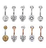 rose belly button rings - Thunaraz 10pcs 14G Stainless Steel Belly Button Rings for Women Crystal CZ Ball Screw Navel Bars White/Rose