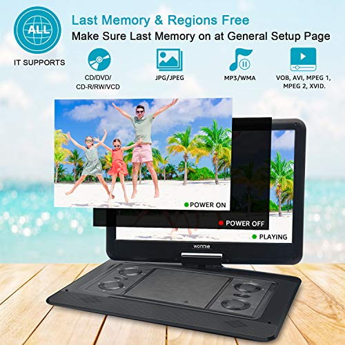 WONNIE 17.9'' Large Portable DVD/CD Player with 15.6'' Swivel Screen, 1366x768 HD LCD TFT, 6 Hrs 5600mAH Rechargeable Battery, Regions Free, Support USB/SD Card/ Sync TV , High Volume Speaker