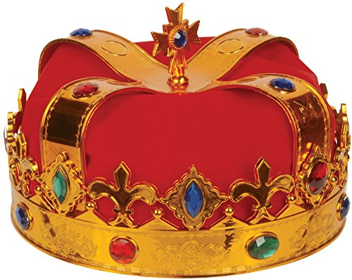Loftus International Deluxe Royal Jewel Encrusted King Crown, Gold/Red, One Size
