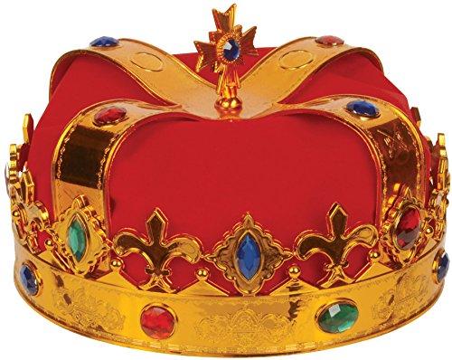 Loftus International Deluxe Royal Jewel Encrusted King Crown, Gold/Red, One Size Deluxe Royal Kings Crown