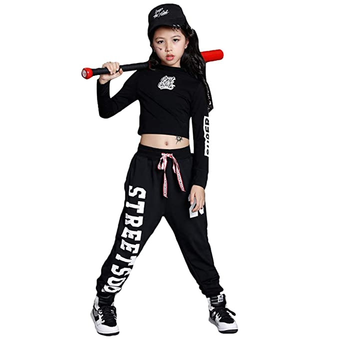 bf2f5a090189 Children Girls Hip Hop Jazz Dance Costume Street Dance Clothing Set:  Amazon.co.uk: Clothing