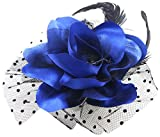 Uxcell Lady Flower Black Cocktail Feather Corsage Hair Clip, Dark Blue, 0.03 Pound