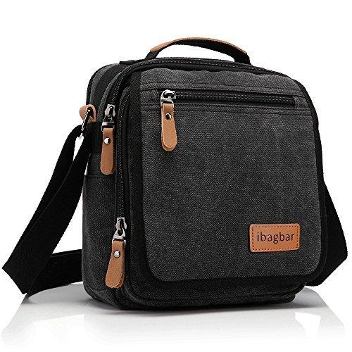 Ibagbar Durable Vintage Multifunction Canvas Shoulder Bag Business Messenger Bag Ipad Bag Tote Bag Satchel Bag for Men and Women Black