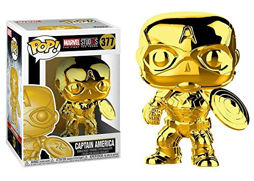 Funko Pop Marvel: Marvel Studios 10 - Captain America (Gold Chrome) Collectible Figure, Multicolor (Trophy Figure Gold)
