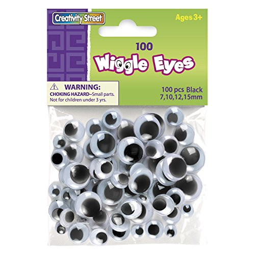 """Chenille Kraft CK-344602 Assorted Size Wiggle Eyes, 0.13"""" Height, 5"""" Wide, 4"""" Length, Black (100 count)"""