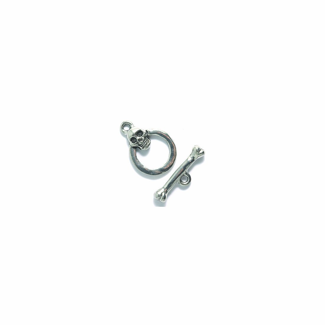 Shipwreck Beads Pewter Skull and Bones Toggle Clasp, Metallic, Silver, 14 by 20mm, Set of 3 PW5836-S