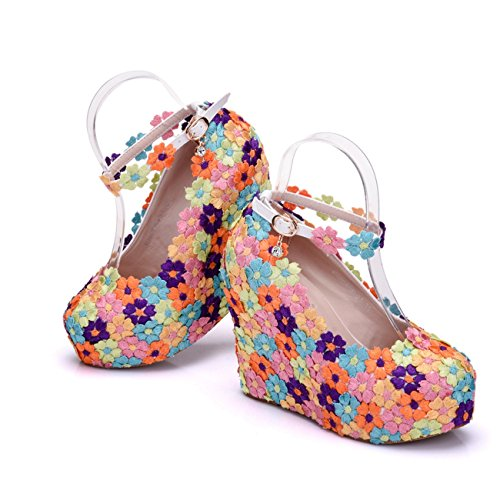 12cm Platform Heel Wedge Multicolor Heel Pumps High Wedding Hidden Strap Womens Ankle Flowers Minishion H7qU4w