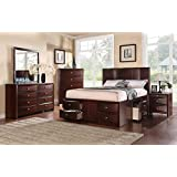 4pc Bedroom Set Storage Drawers FB Bed California King Size Bed Dresser  Mirror Nightstand Espresso 14 Slats U0026 6 Underbed Drawers Plywood