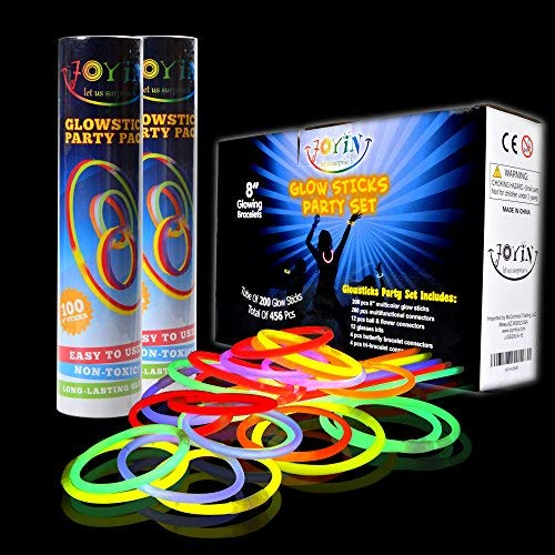 "JOYIN Glow Sticks Bulk 200 8"" Glowsticks (Total 456 PCs 7 Colors); Bracelets Glow Necklaces Glow-in-The-Dark Light-up July 4th Christmas Halloween Party Supplies Pack, Football Party Supplies"