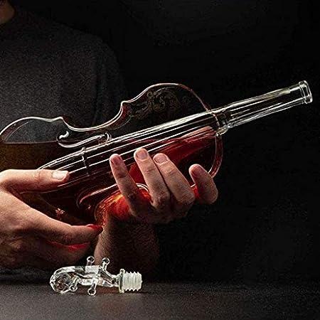 ZKDY Conjunto de decantores de Whisky, Forma de violín de Vidrio Personalizado, decoración del hogar de la Botella de Vino Artesanal, para Bar, Vidrio Vodka Decantador de Whisky