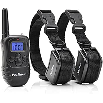 Petrainer Rechargeable and Rainproof 330 yd Remote Electronic 2 Dog Training Shock Collar with Beep, Vibration and Electric Stimulation for Two Dogs