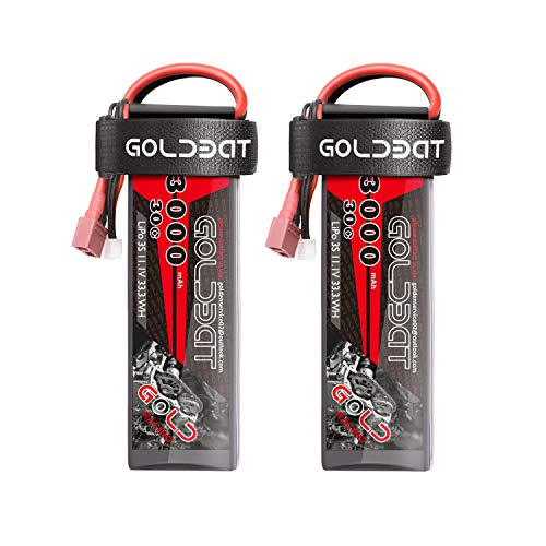 GOLDBAT 2 Packs 3000mAh 11.1V 3S 30C 3 Cell LiPo Battery Pack with Deans Plug for RC FPV Helicopter Airplane Truck Boat Model (01) (Remote Helicopter Rc Sport Control)