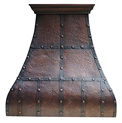 Solid Copper Kitchen Range Hood in Heavy Hammered Texture Antique Copper Patina Includes Stainless Steel 304 Vent Baffle Filter Hammered Round Head Rivets