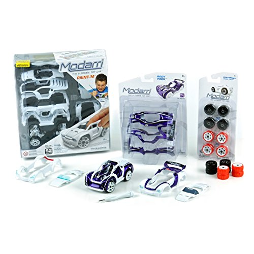 Modarri Kids STEM Toy Car Building Set White S2 Muscle Delux by The Ultimate Toy Car | Engineer toys | Design Build and Drive your own race car | Unlimited Car Design Possibilties