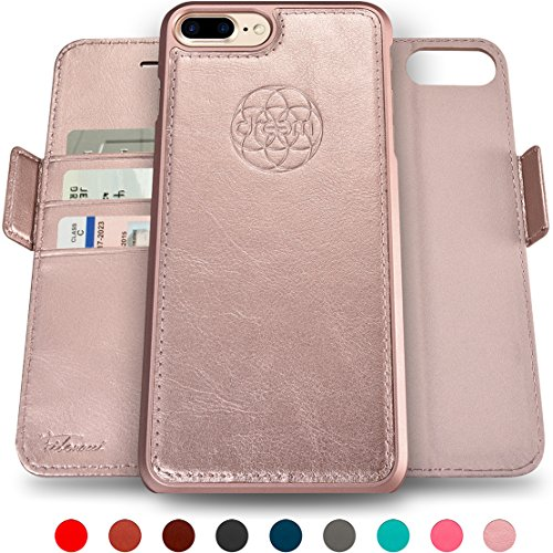 Dreem iPhone 7 & 8 PLUS Wallet Case with Detachable SlimCase, Fibonacci Luxury Series, Vegan Leather, RFID Protection, H/V Stands, Gift Box - Rose Gold