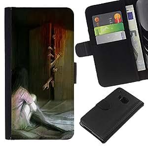 Planetar® Modelo colorido cuero carpeta tirón caso cubierta piel Holster Funda protección Para HTC One M9 ( Monster Zombie Pintura Scary)
