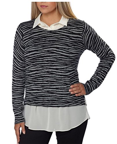 Faux Layered Sweater (DKNYC WOMENS LAYERED LOOK-BUILT IN FAUX SHIRT PULLOVER SWEATER)