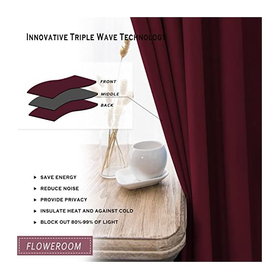 """FLOWEROOM Blackout Curtains Thermal Insulated Draperies with Grommet for Bedroom, Burgundy Red, 52 by 84 inch, 2 Panels - PACKAGE INCLUDED: Set includes 2 panels per package, each panel measuring 52 inch wide by 84 inch long. 8 sliver opening grommet with 1.6"""" diameter, fit standard-sized curtain rods PERFORMANCE: Blocks 95% of Sunlight and UV rays to any room anytime of the day, lowers outside noise up to 40% thanks to the innovative triple weave technology. ENERGY SAVING: Creates energy-saving insulating barrier against heat and cold, keeping room cooler in the summer and warmer in the winter. - living-room-soft-furnishings, living-room, draperies-curtains-shades - 51VbbYydOaL. SS570  -"""