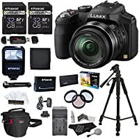 Panasonic Lumix DMC-FZ200 12.1 MP Digital Camera with CMOS Sensor and 24x Optical Zoom Black, Polaroid 32GB UHSI + 50 Tripod + flash + Battery + Charger + Filter Kit + Bag + Accessory Bundle