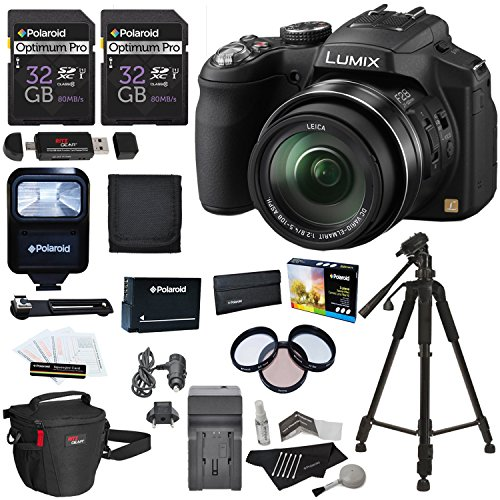 Panasonic Lumix DMC-FZ200 12.1 MP Digital Camera with CMOS Sensor and 24x Optical Zoom Black, Polaroid 32GB UHSI + 50″ Tripod + flash + Battery + Charger + Filter Kit + Bag + Accessory Bundle