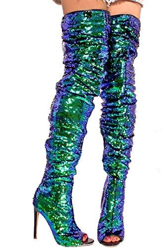 Lolli Couture Lentejuela Acento Lado Cremallera Peep Punta Sobre La Rodilla Botas De Alto Tacón Royalblue-scylla-1