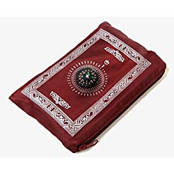 Hitopin Portable Waterproof Muslim Prayer Mat Red Color Light andPrayer Rug with Compass Muslim Prayer Rug Qibla finder and Booklet