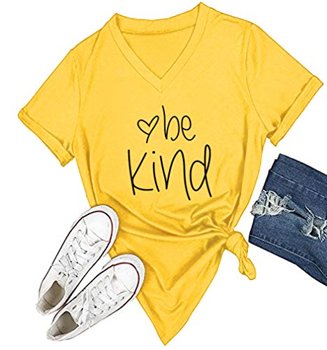 DANVOUY Womens T Shirt Casual Cotton Short Sleeve V-Neck Graphic T-Shirt Tops Tees Yellow Large
