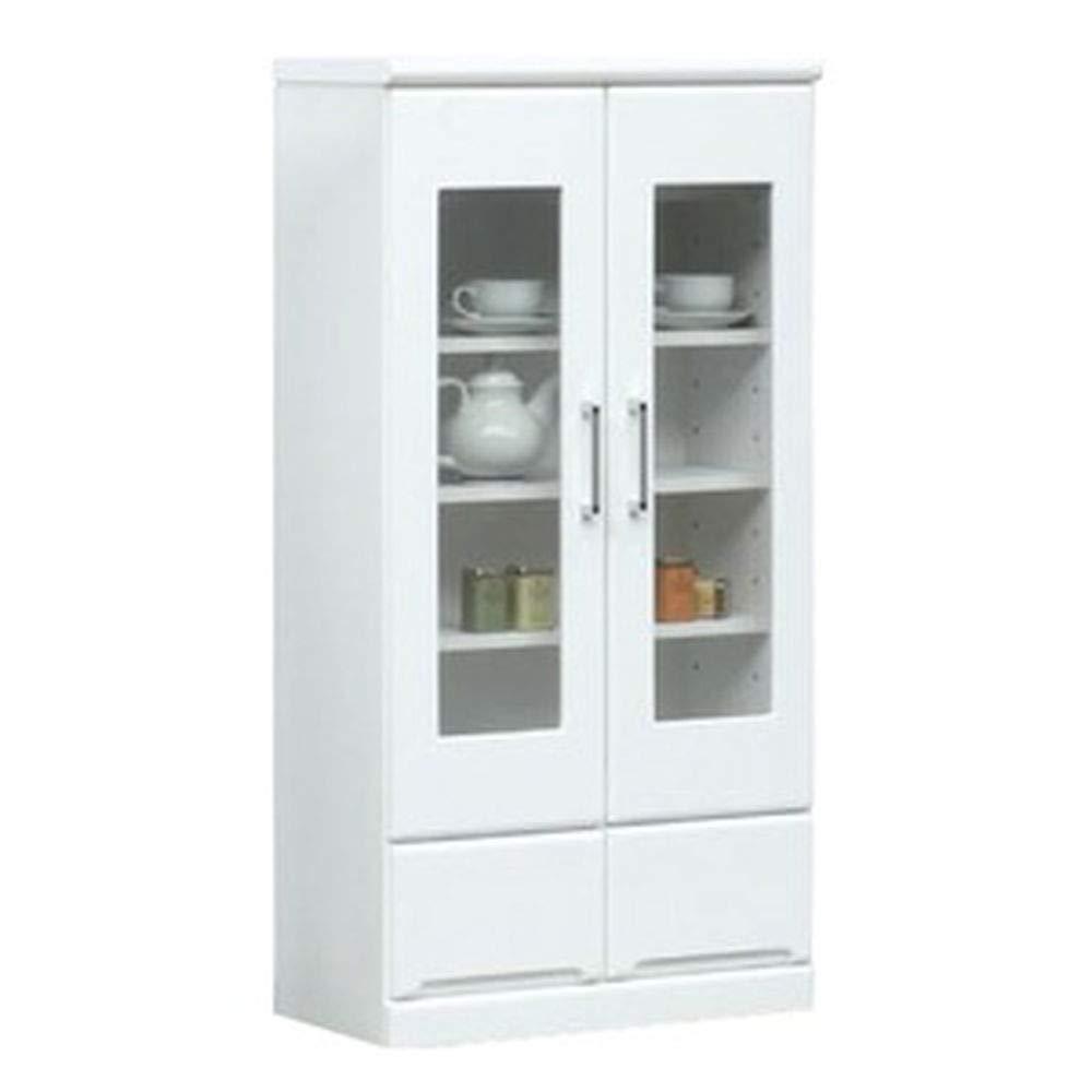 ミドルキャビネット-リビングボード/収納棚--幅60cm-可動棚付き日本製ホワイト-白--Creap4-クリープ4-完成品開梱設置- B07TBQQH58