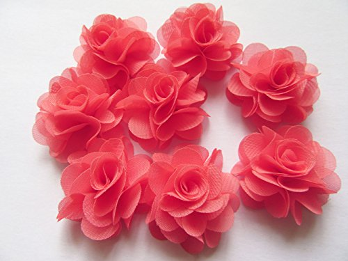 YYCRAFT Pack Of 30 Chiffon Flower 1.5'' Hair Flower Wedding Bride Headband-Coral by YYCRAFT