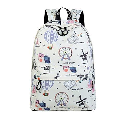 Casual de poliéster impermeable mujer mochilas lindo globo de aire caliente niñas impresión patrón College Mochila diaria beige de 15 pulgadas Beige
