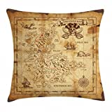 Ambesonne Island Map Throw Pillow Cushion Cover, Super Detailed Treasure Map Grungy Rustic Pirates Gold Secret Sea History Theme, Decorative Square Accent Pillow Case, 26 X 26 Inches, Beige Brown Review
