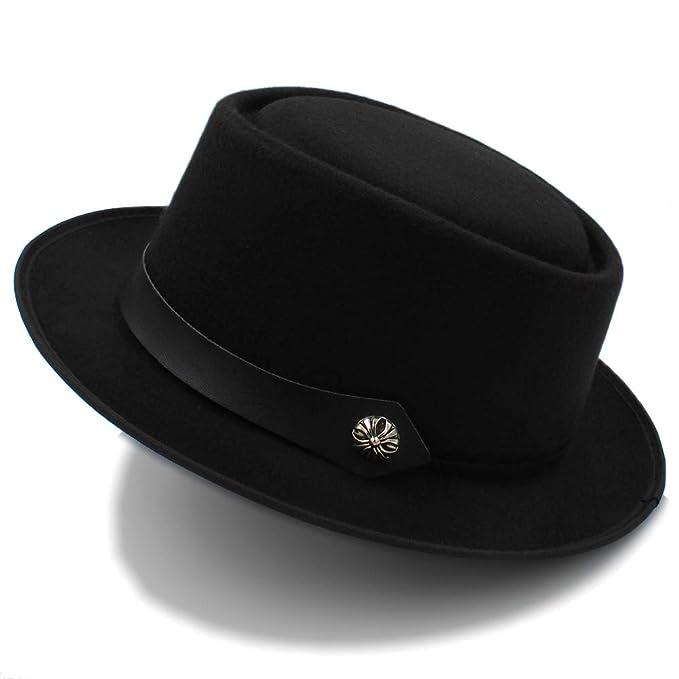 97a84ed40 Hat&Cap, Autumn Winter Wool Felt Brown Pork Pie Hat Porkpie Jazz ...